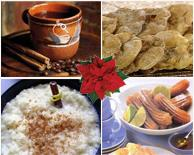 Piloncillo-laden treats, clockwise from top left: caf� de olla, bu�uelos, churros and arroz con leche